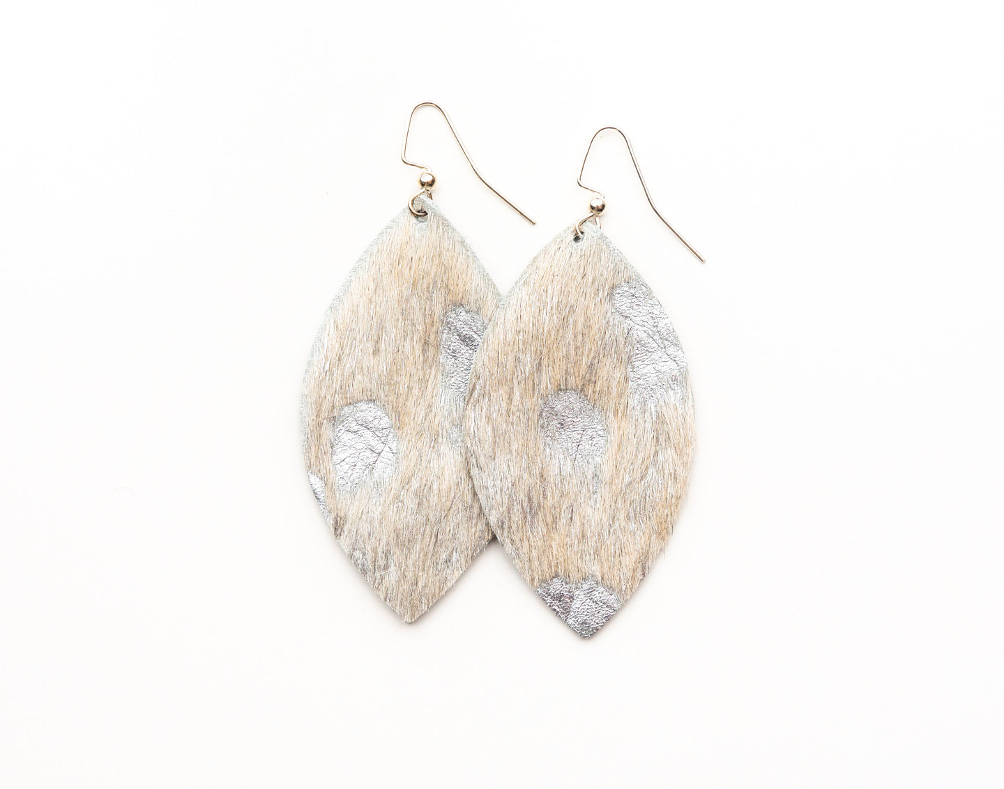 Silver Foil Leather Earrings