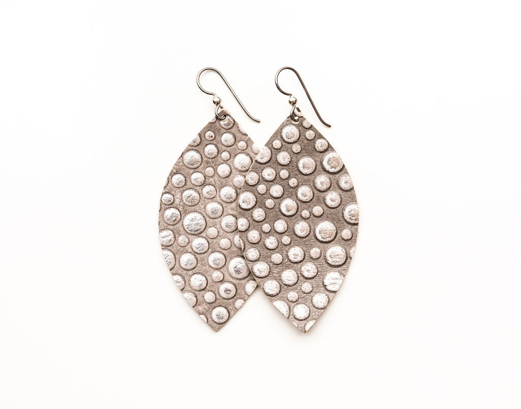 Light Grey Bubbly Leather Earrings