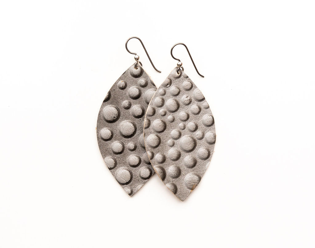 Dark Gray Bubbly Leather Earrings