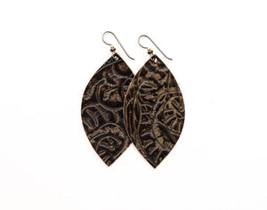 Carved Dark Brown Leather Earrings