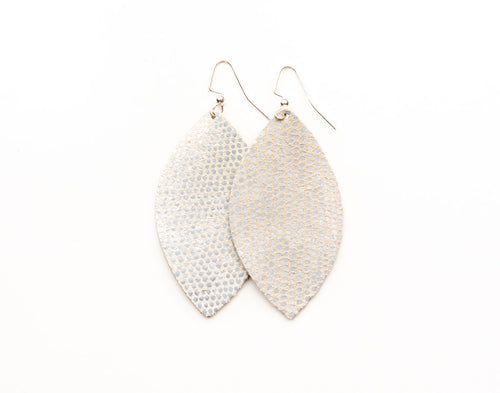 Silver and White Speckled Leather Earrings
