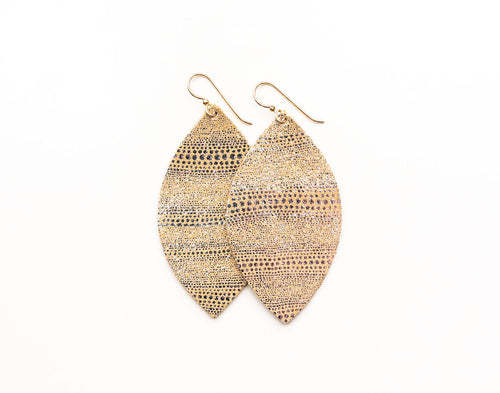 Luna in Gold and Silver Leather Earrings