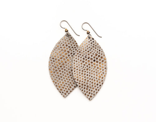 Speckled Copper and Gold Metallic Leather Earrings