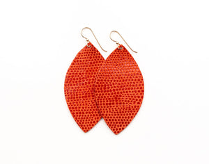 Coral Shimmer Leather Earrings
