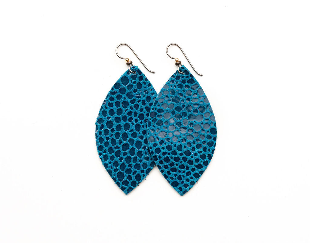 Turquoise Speckled Leather Earrings