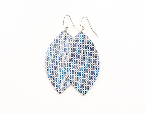 Blend of Blues in Light Blue Leather Earrings