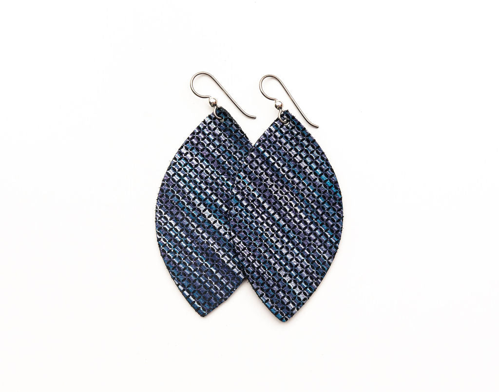 Blend of Dark Blues Leather Earrings