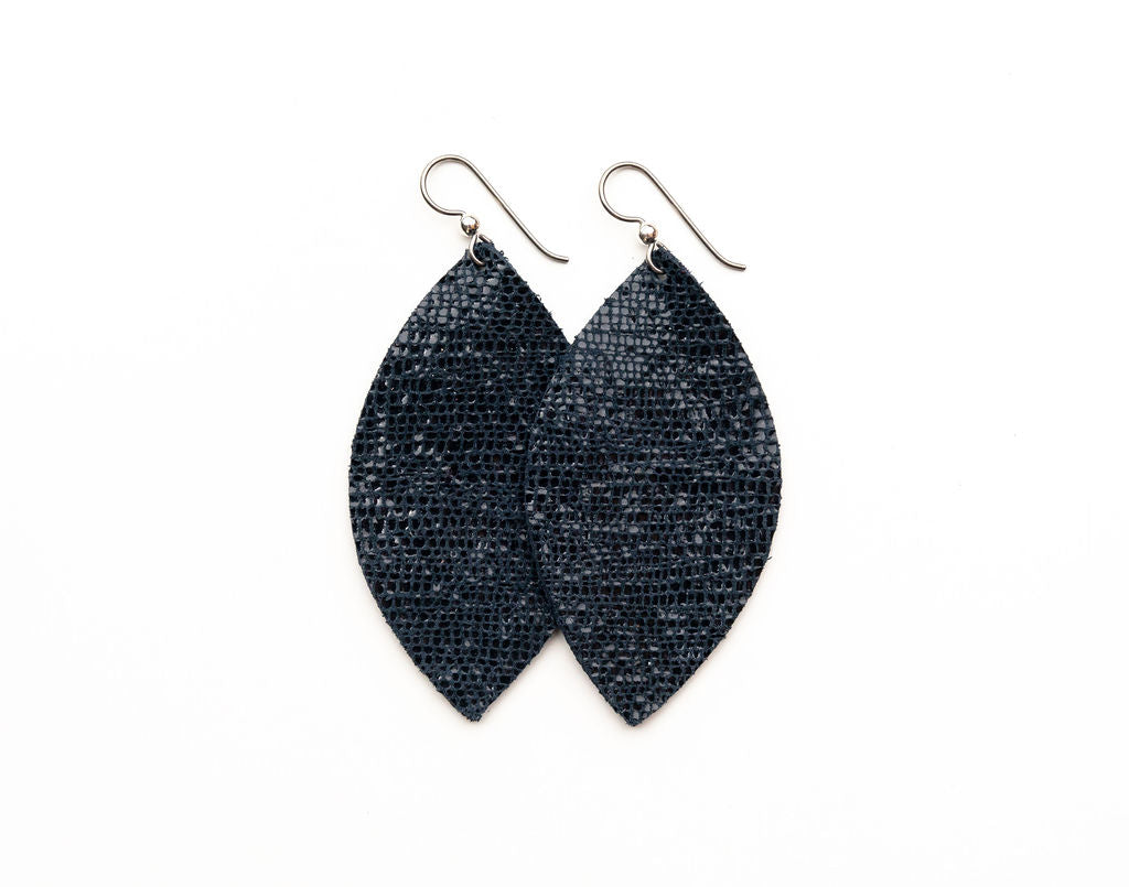 Navy Shimmer Leather Earrings