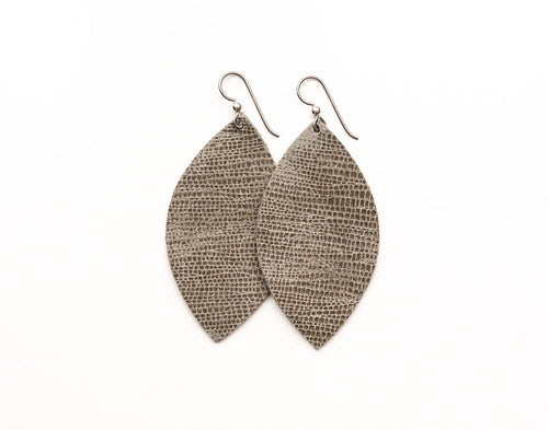 Spotted in Taupe Leather Earrings