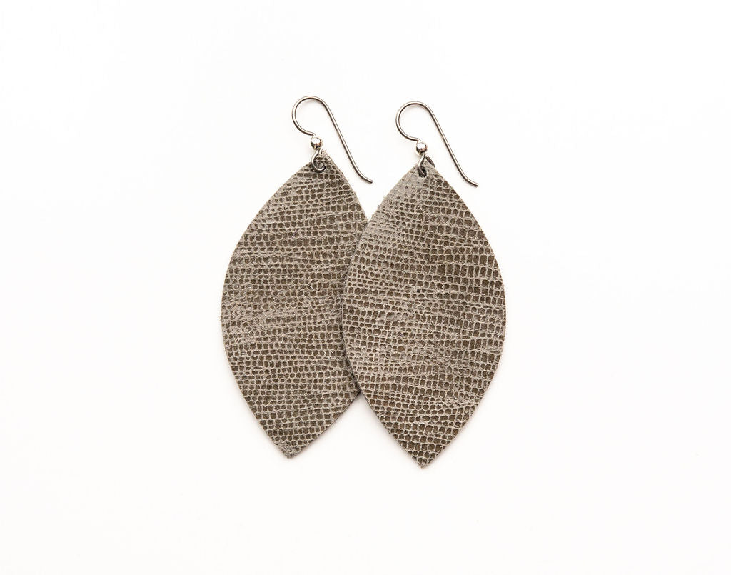 Brush Stroke in Taupe Leather Earrings
