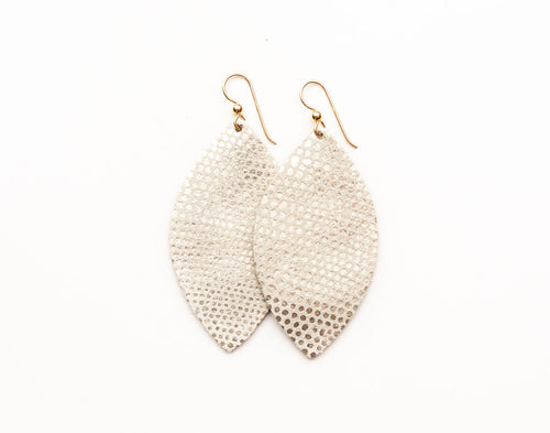 White with Gold Speckled Leather Earrings