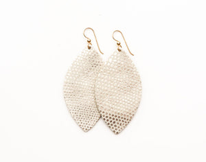 Gold Point on Cream Leather Earrings