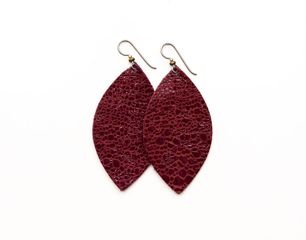 Wine Speckled Leather Earrings