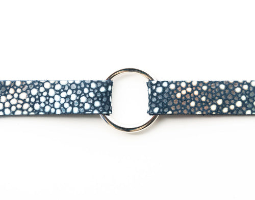 Blue Speckled Leather Bracelet