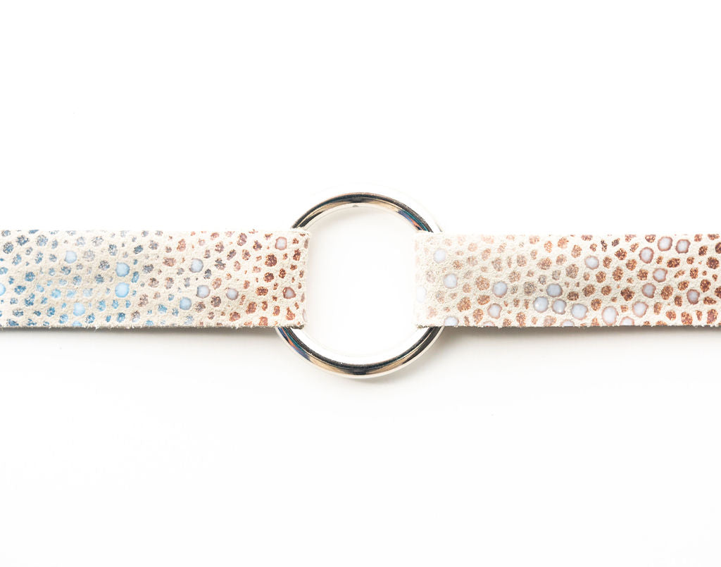 Multi Color Speckled On Cream Leather Bracelet