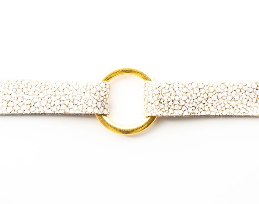 White and Gold Speckled Leather Bracelet