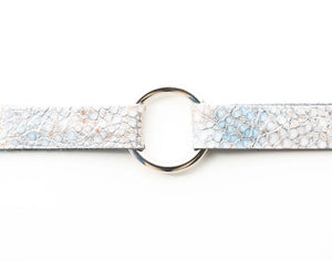 Silver Metallic Speckled Leather Bracelet