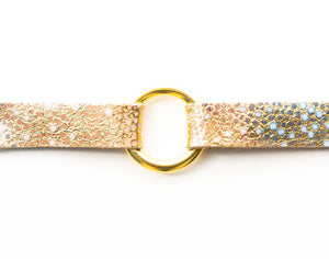 Gold with Blue Speckled Leather Bracelet