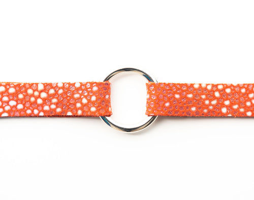 Coral Speckled Leather Bracelet