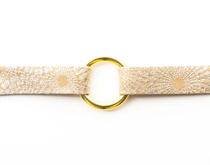 Starburst Gold Leather Bracelet