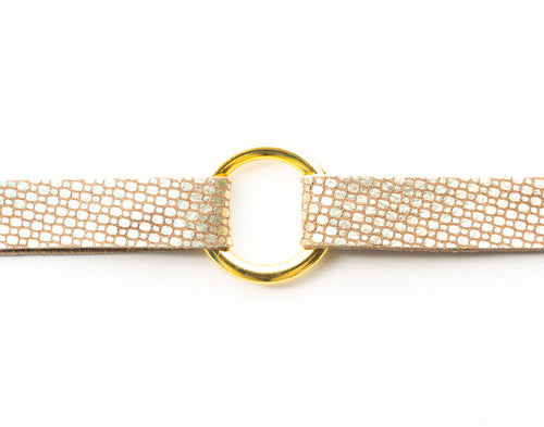 Gold Cobblestone Leather Bracelet