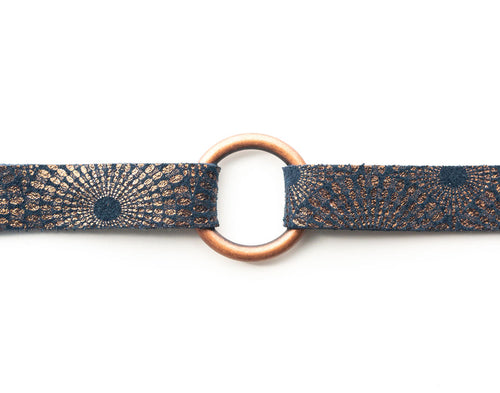 Starburst Blue and Bronze Leather Bracelet