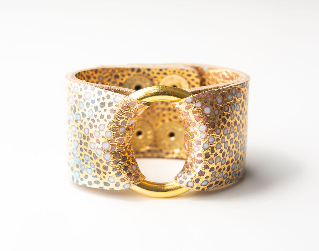 Gold with Blue Speckled Leather Cuff