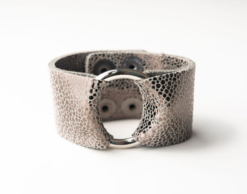 Anthracite Speckled Wide Leather Cuff with Hardware