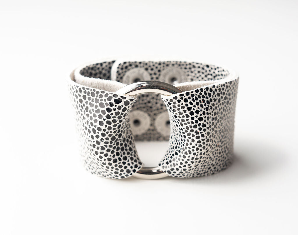 Black on White Speckled  Wide Leather Cuff with Hardware