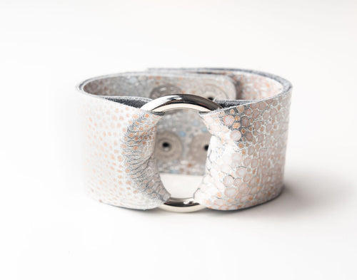 Silver Metallic Speckled Leather Cuff