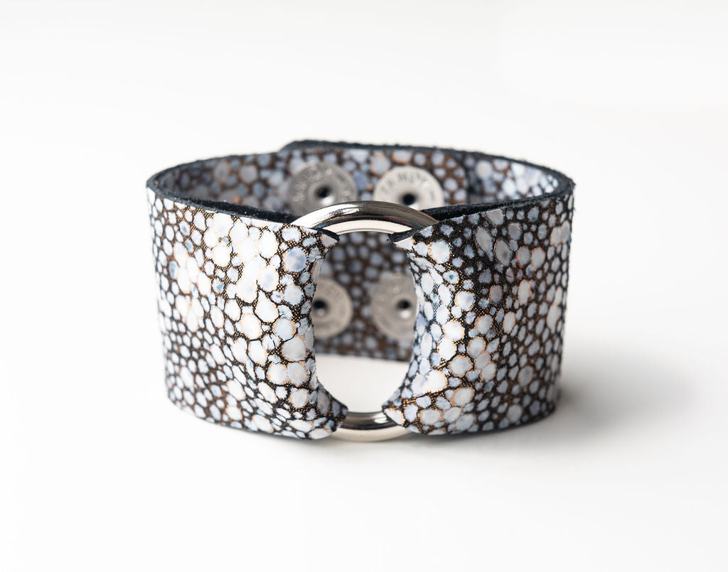 Black on Bronze Speckled Wide Leather Cuff with Hardware