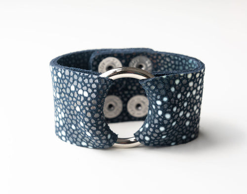 Blue Speckled Wide Leather Cuff with Hardware