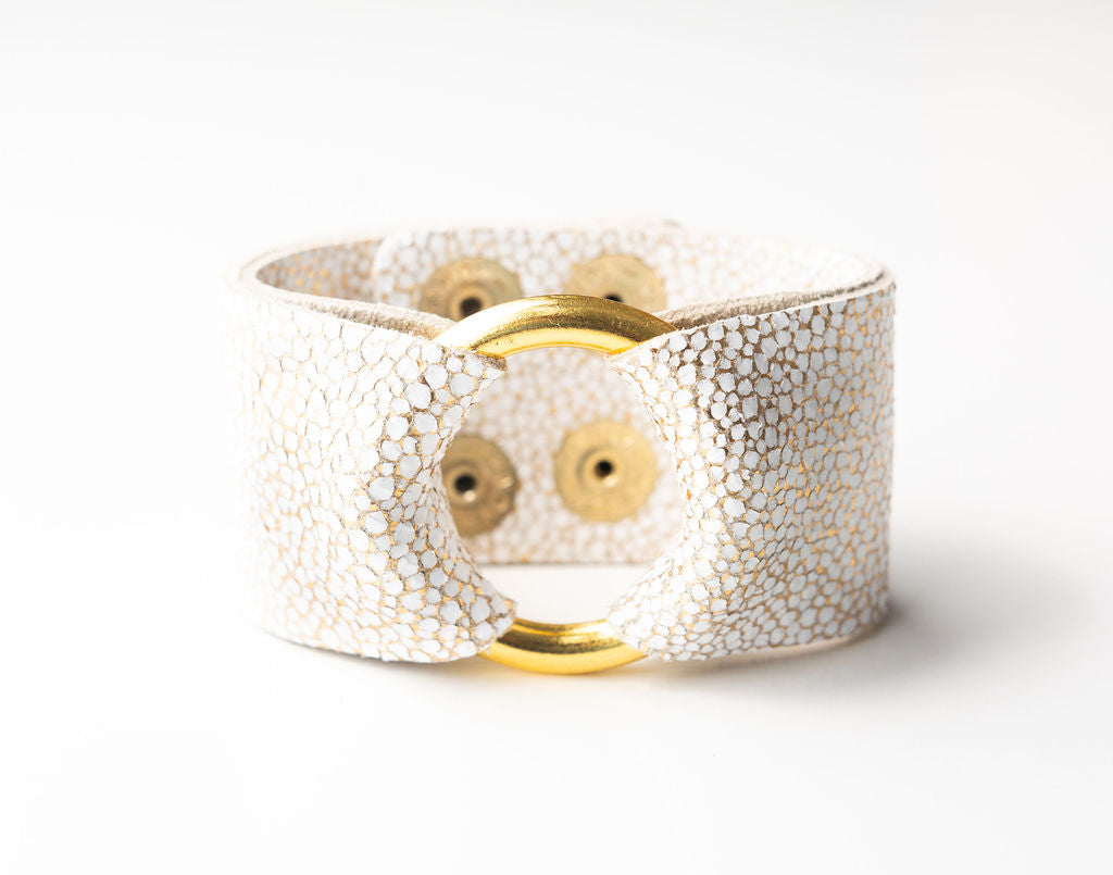 White with Gold Speckled Wide Leather Cuff with Hardware