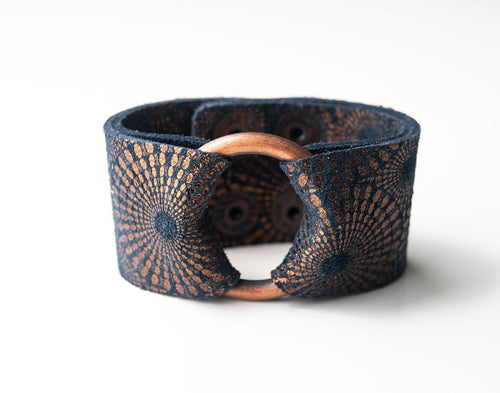 Starburst Blue and Bronze Wide Leather Cuff with Hardware