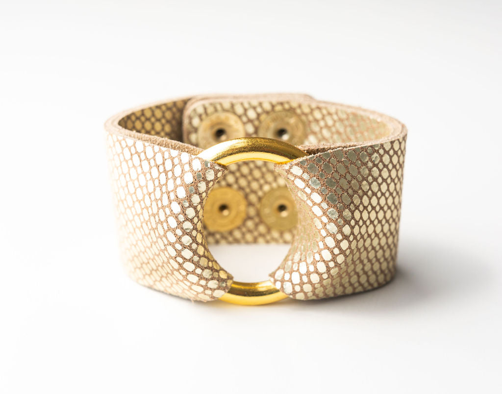 Gold Cobblestone Leather Cuff