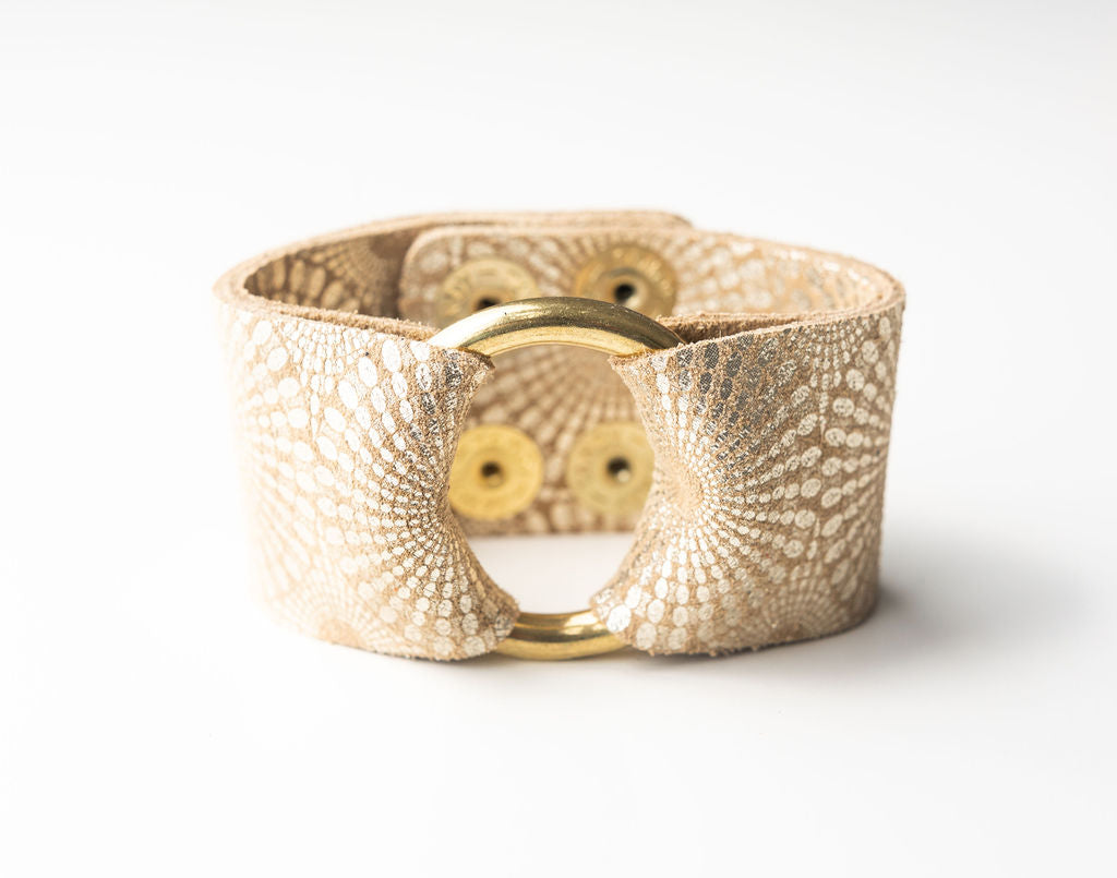 Starburst Gold Wide Leather Cuff with Hardware