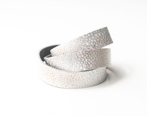 Silver Metallic Speckled Leather Wrap