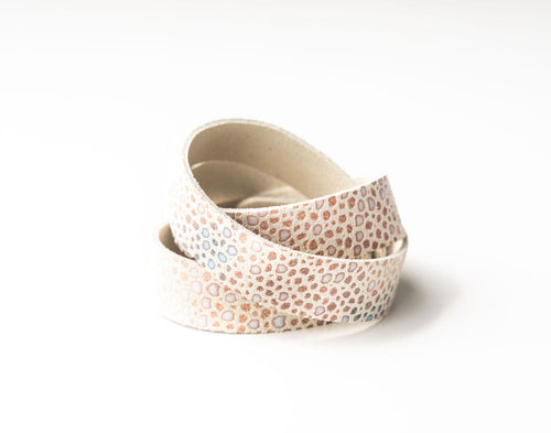 Multi Color Speckled On Cream Leather Wrap