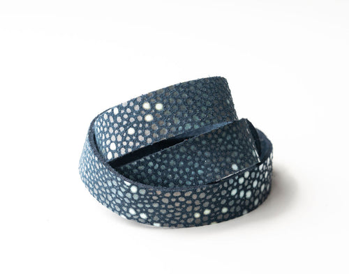 Blue Speckled Leather Wrap