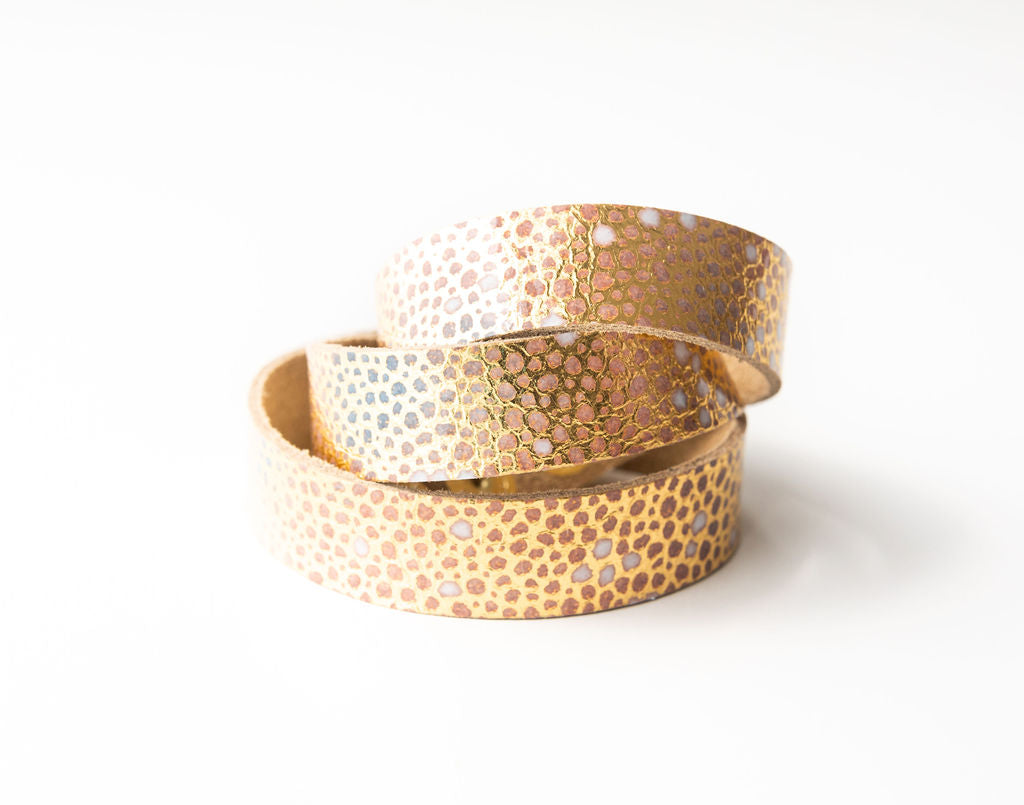Gold with Blue Speckled Leather Wrap