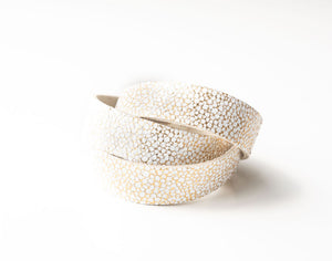 White with Gold Speckled Leather Wrap