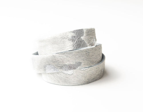 Silver Foil Leather Wrap