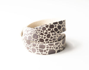 Pebbles in Silver Leather Wrap