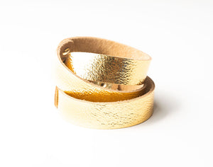 Gold Shimmer Leather Wrap