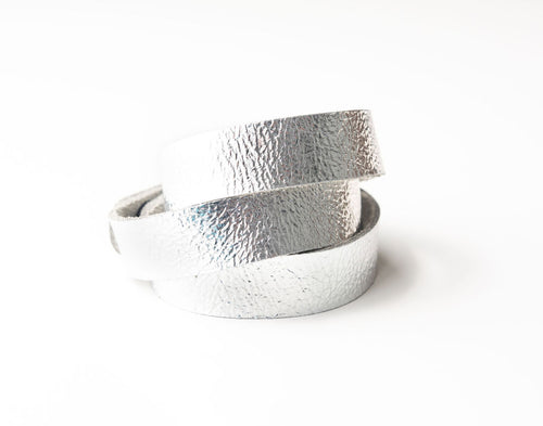 Silver Shimmer Leather Wrap