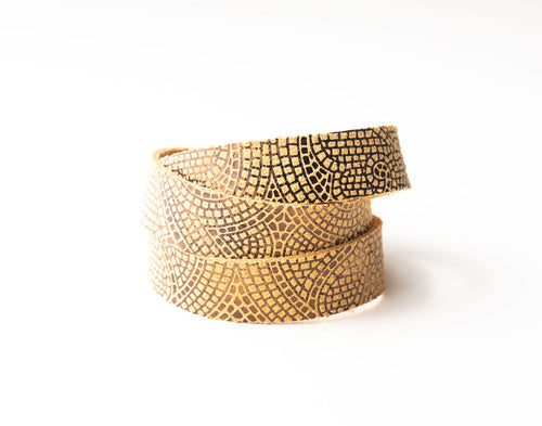 Mosaic Butterscotch and Bronze Leather Wrap
