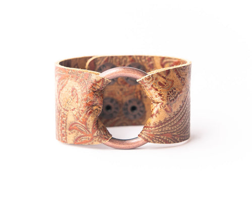 Carved Brown Leather Cuff