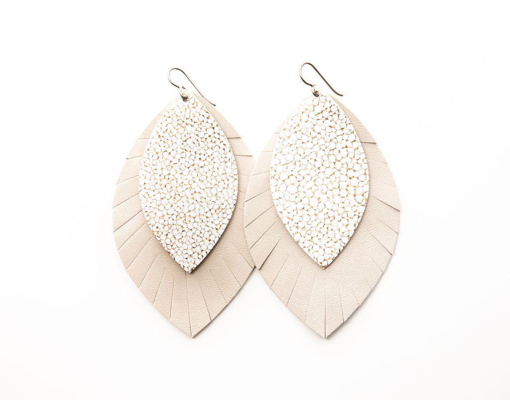 White and Gold Speckled with Cream Fringe Base | Double Layer Leather Earring