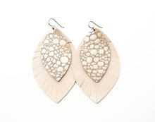 Load image into Gallery viewer, Pebbles in Platinum with Cream Fringe Base | Double Layer Leather Earring