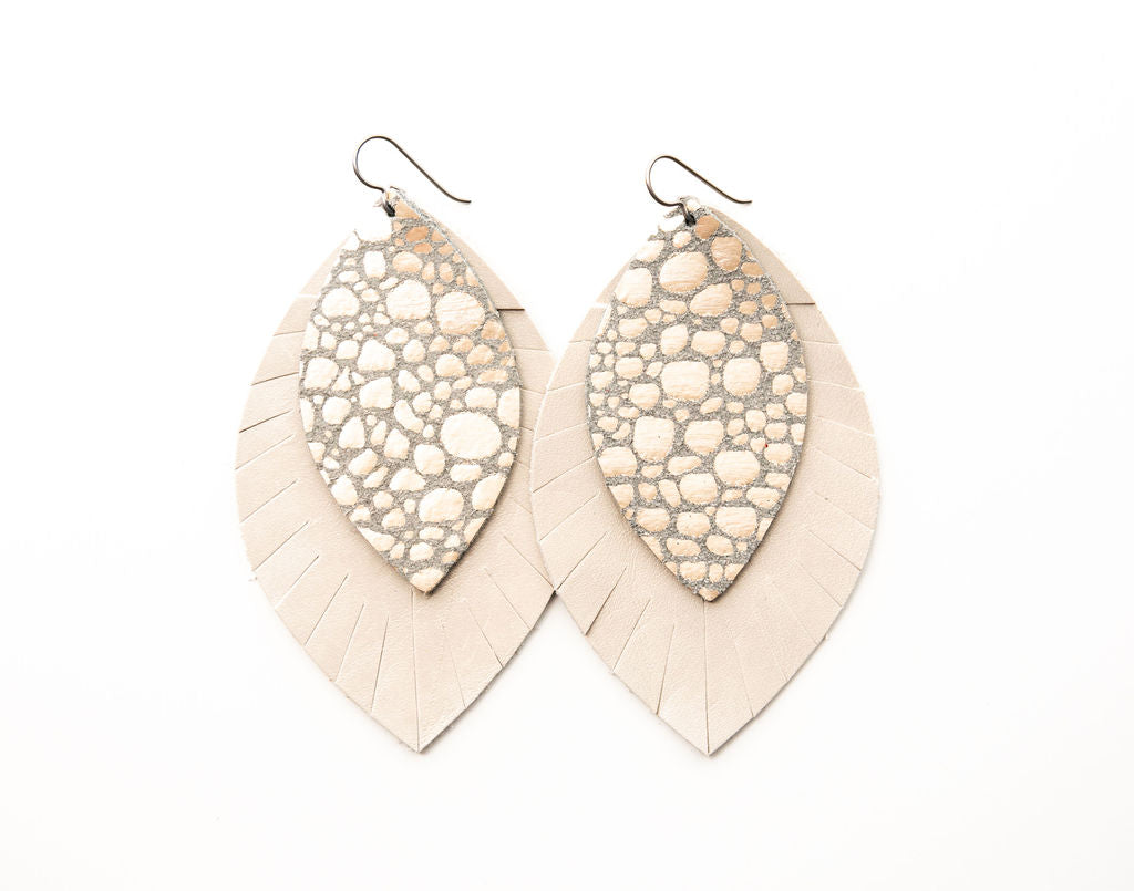 Pebbles in Platinum with Cream Fringe Base | Double Layer Leather Earring